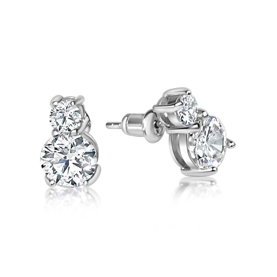 Double Round Cut Stud Earrings