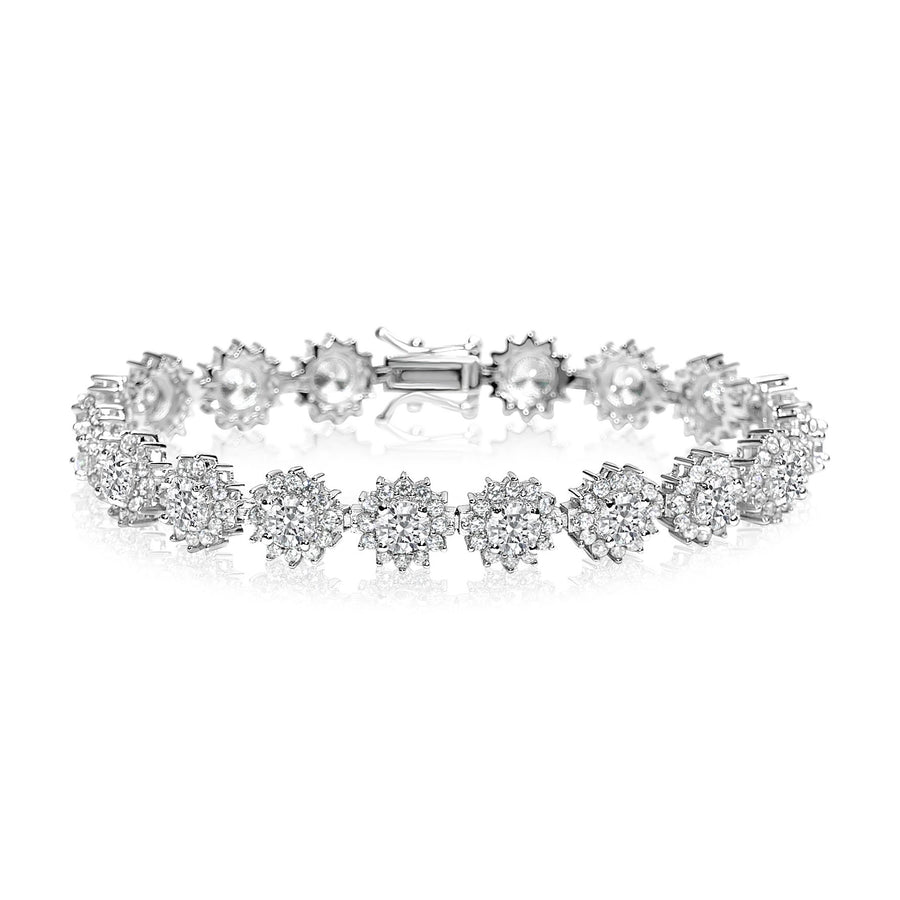Round Cut Flower Tennis Bracelet