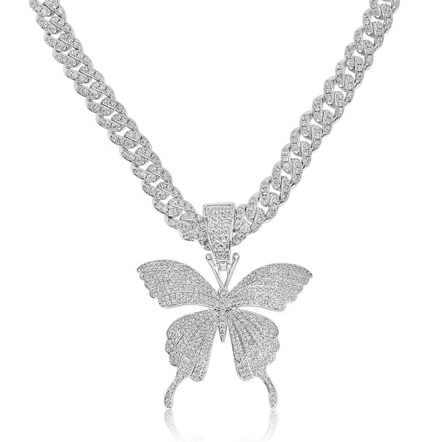 Silver Butterfly Dreams Cuban Link