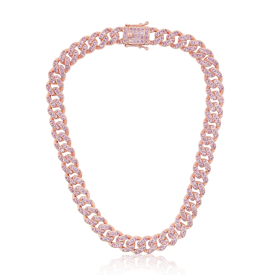 Pink 12 MM Cuban Link Necklace
