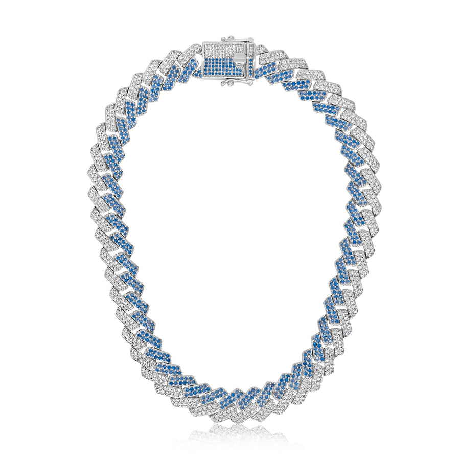 Blue x Silver Prong Cuban Link Chain