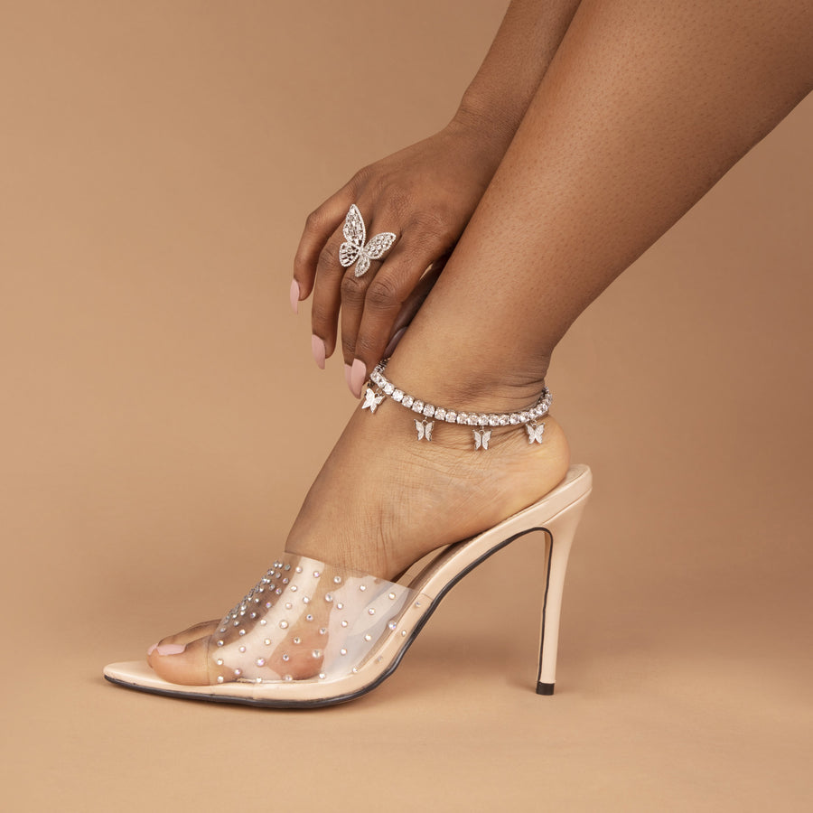 5 MM Silver Butterfly Drip Anklet