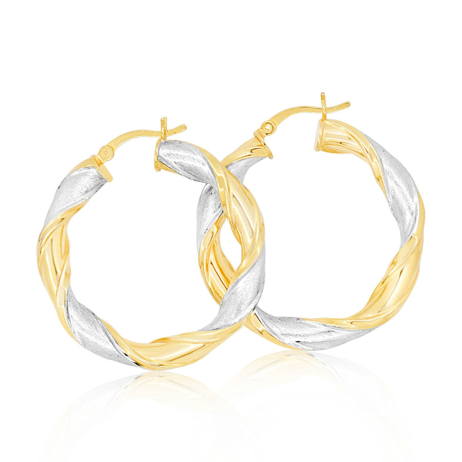Twisted 2 Toned Hoop Earrings
