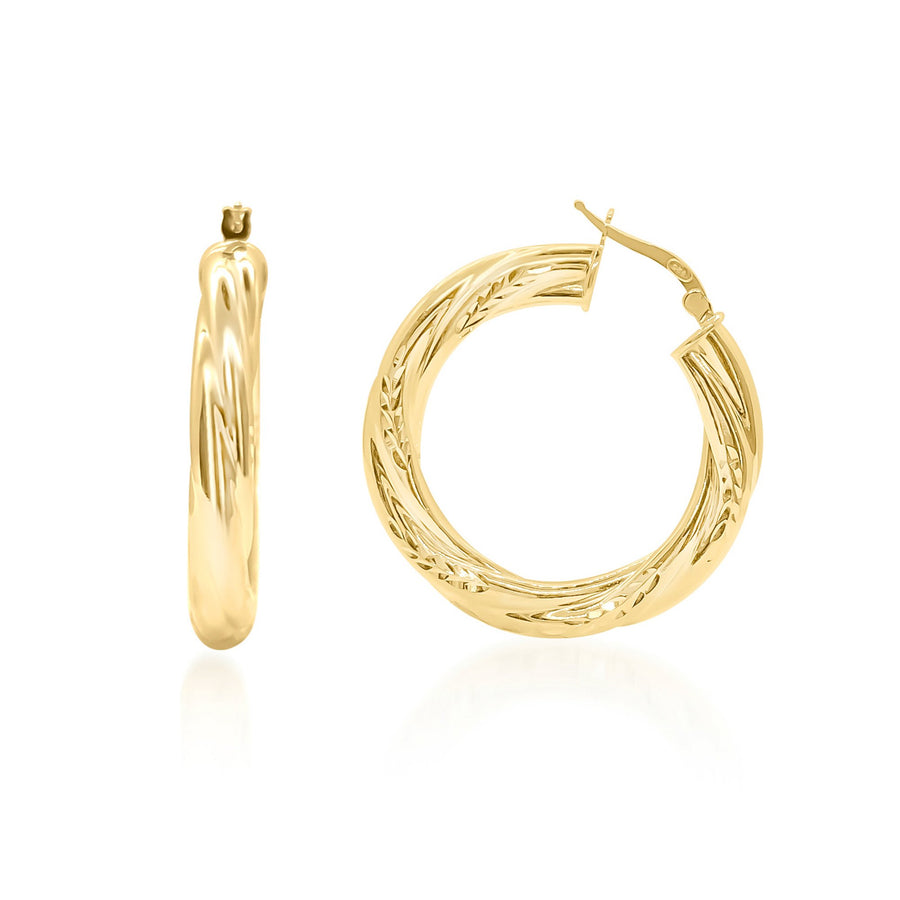 Italian Embellished Hoop Earrings