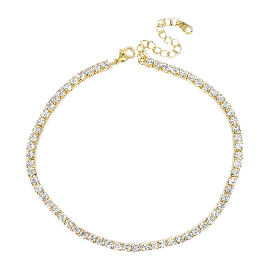 3 MM Gold Tennis Anklet