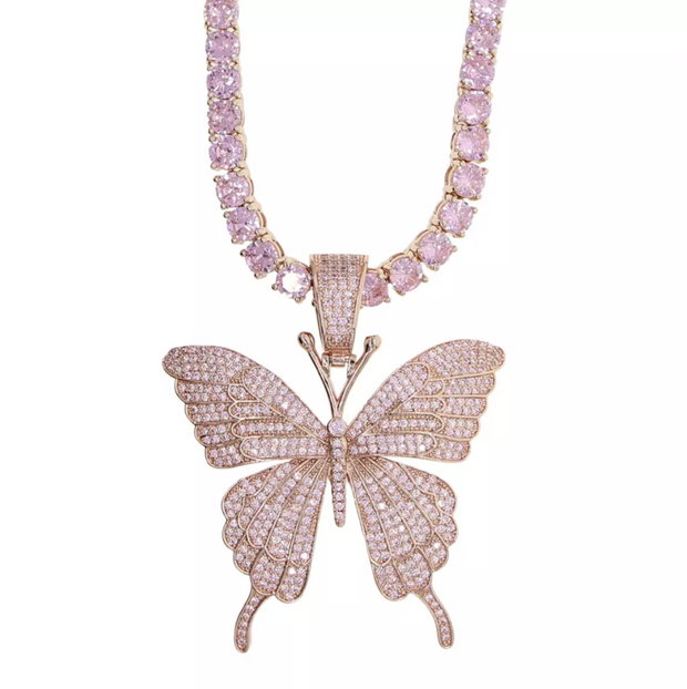 Rose Gold Iced Out Butterfly