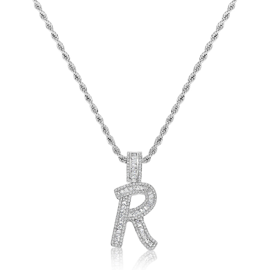 Silver Diamond Baguette Initial