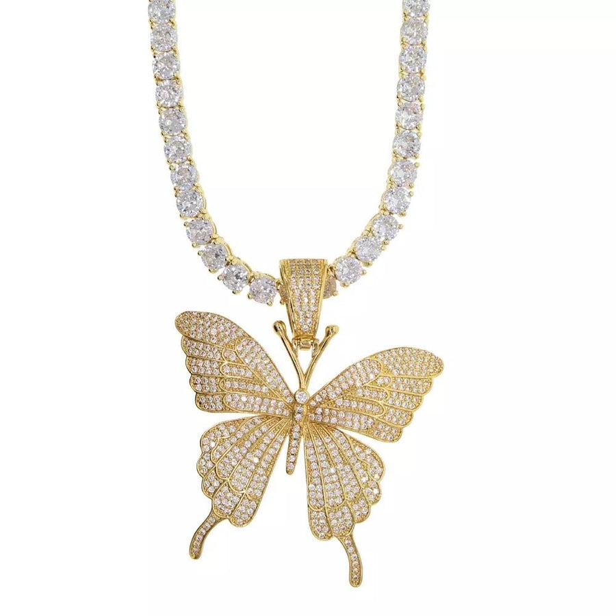 Gold Iced Out Butterfly