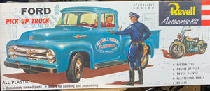 F-Series Ford 1956 Ford F-100 Pick Up Truck with Harley Davidson Motorcycle and Accessories 1/48