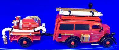 1950 Ford E38W Van; Fire Truck & Trailer  1/43 Scale