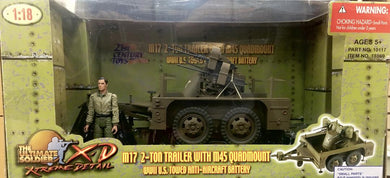 M17 2-TON TRAILRT WITH M45 QUADMOUNT WWII Towed Anti-Aircraft Battery  1/18