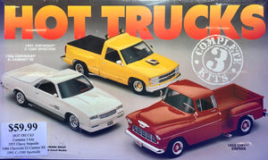 Hot Trucks 3-kits 1955 Chevy Stepside, 1986 Chevrolet El Camino SS & 1991 C-1500 Sportside
