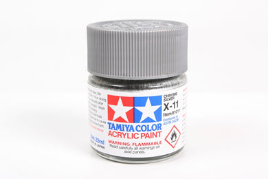 Tamiya  ACRYLIC X-11 SILVER CHROME 23Ml Bottle, glossy finish