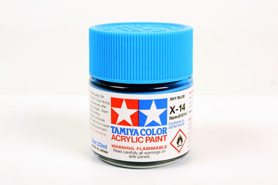 Tamiya  ACRYLIC   X-14 SKY BLUE 23Ml Bottle, glossy finish