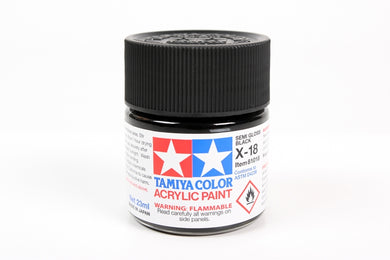 Tamiya  ACRYLIC    X-18 SEMI GLOSS BLACK 23Ml Bottle