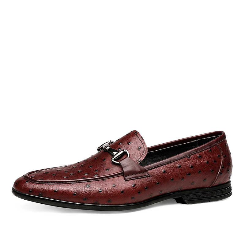 Men's Ostrich Pattern Brithish Loafers Shoes
