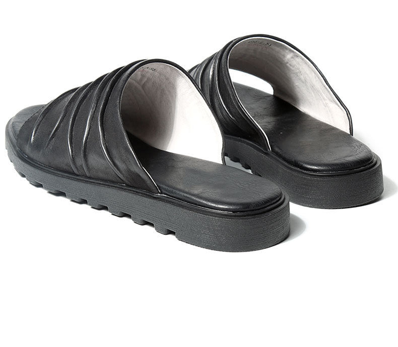 Vintage Genuine Leather Slippers Sandals