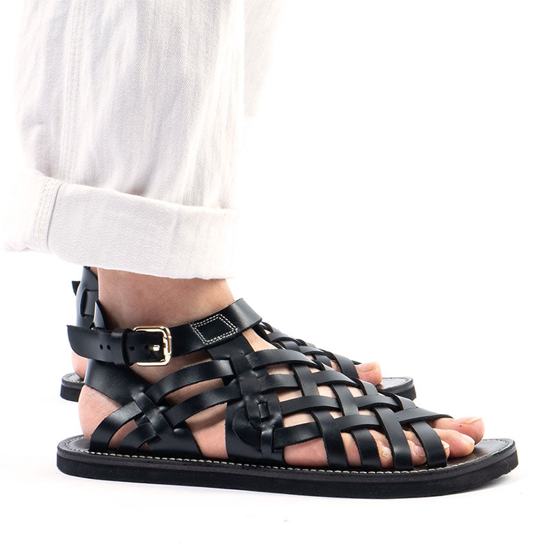 Summer Hand-Knitted Vintage Leather Sandals
