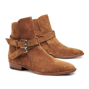 British Mens Suede Leather Riding Pointed Boots