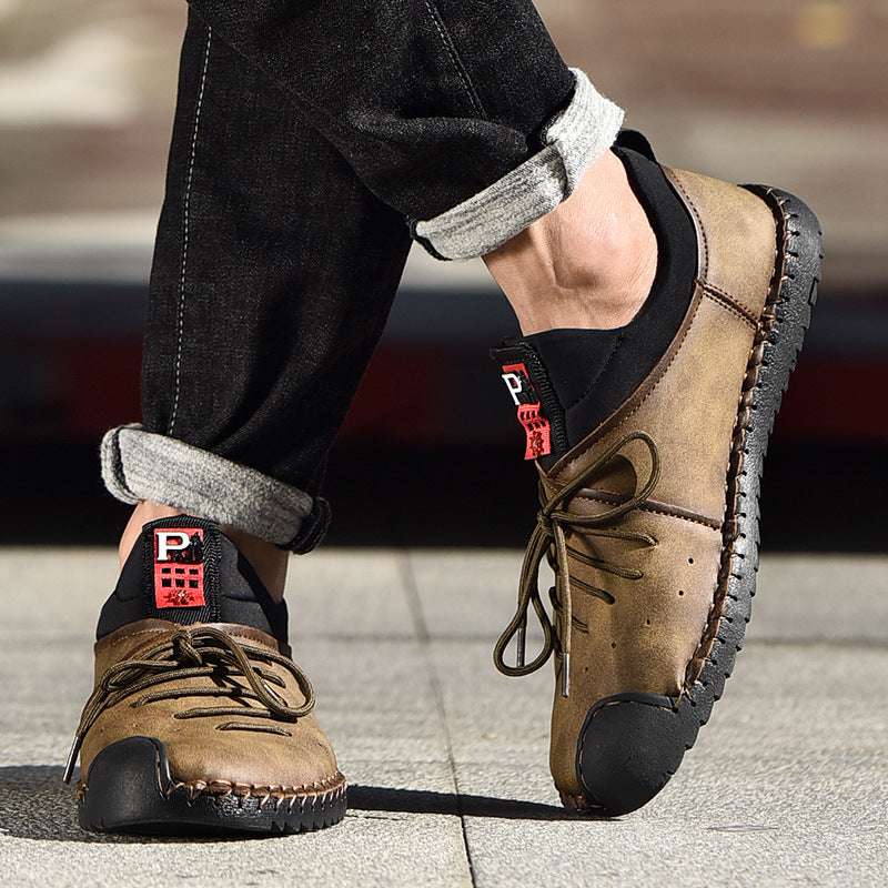 Men Handmade Lace Up Casual Shoes