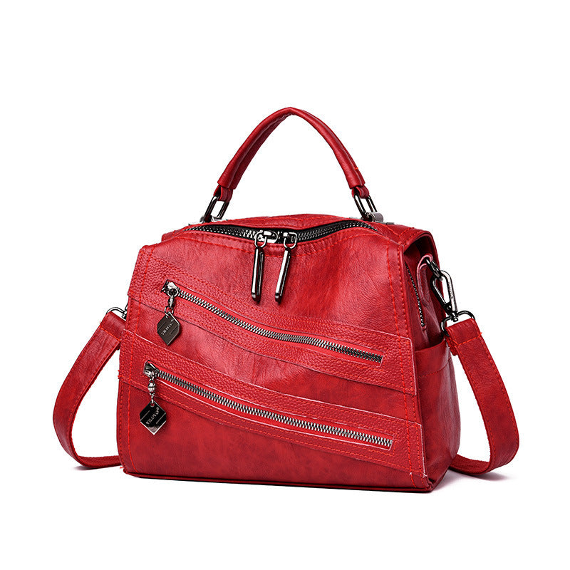 Fashion Large Capacity Soft Leather Boston Bag