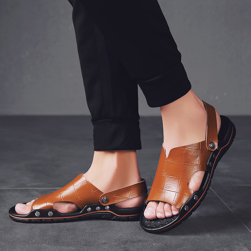 Fashion Peep Toe Leather Sandals