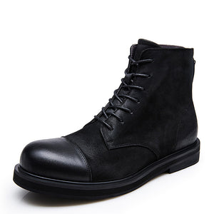 Genuine Leather Round Head Back Zipper Motorcycle Boots