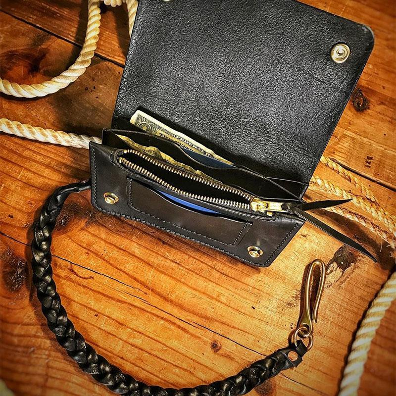 Handmade Leather Men Wallet With Braided Leash