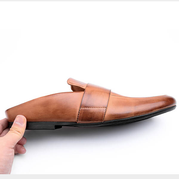 Men Vintage Leather Half Drag British Lazy Shoes