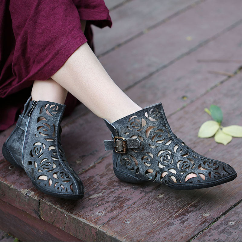 Pointed Flat Flower Hollow Genuine Leather Ankle Boots