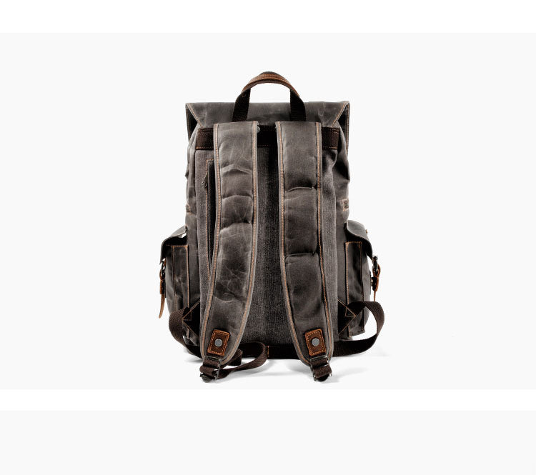Vintage Canvas Genuine Leather Backpack