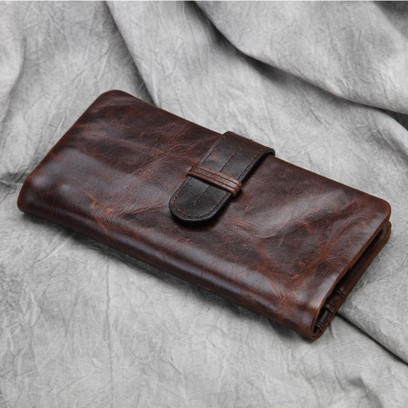 Men's Casual Style Leather Long Wallet