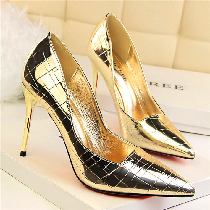 Pumps Fashion Patent Leather Party Shoes Pointed Toe Shallow High ... 42b1e3afbd0d
