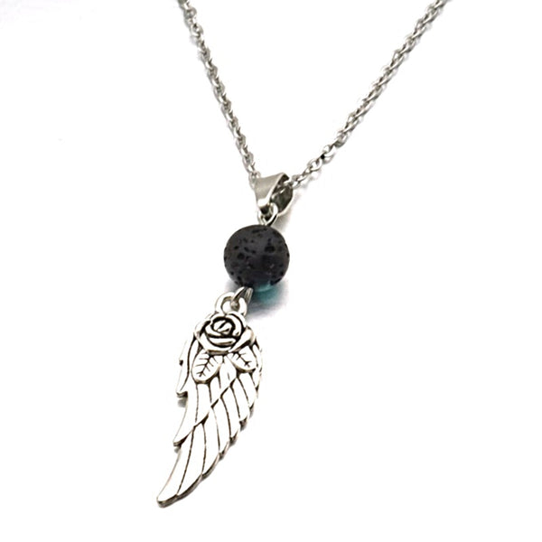 AROMATHERAPY ANGEL WING + ROSE DIFFUSER NECKLACE