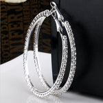 "CRYSTAL HOOP EARRINGS - 1-1/4"" Diameter"