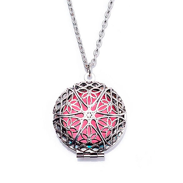 AROMATHERAPY ROUND FILIGREE DIFFUSER NECKLACE