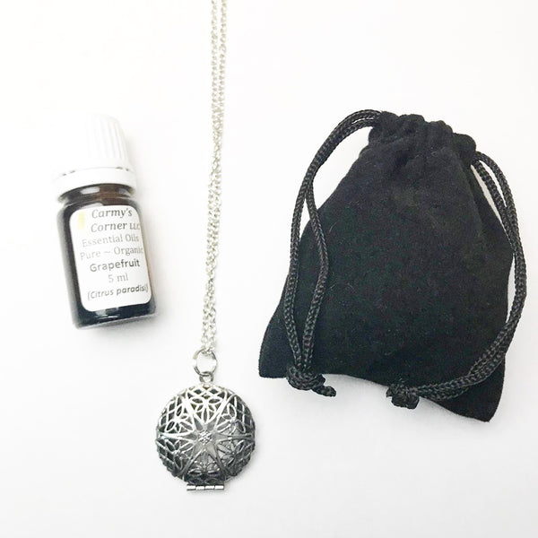 AROMATHERAPY ROUND DIFFUSER + OIL NECKLACE SET