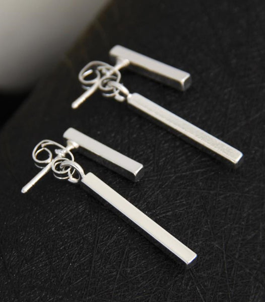 SILVER DOUBLE BAR EARRINGS