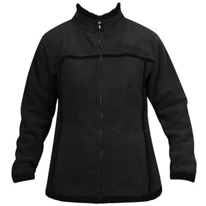 Womens Wool Look Fleece Jacket - Charcoal