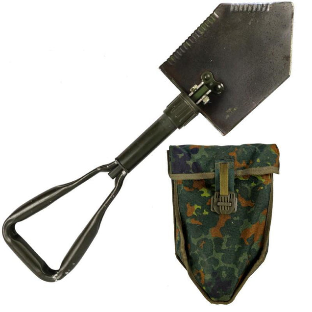 German Tri-Fold Shovel & Flecktarn Cover