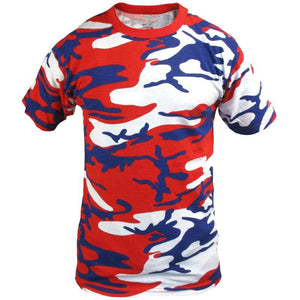 Coloured Camo T-Shirt - Red, White & Blue