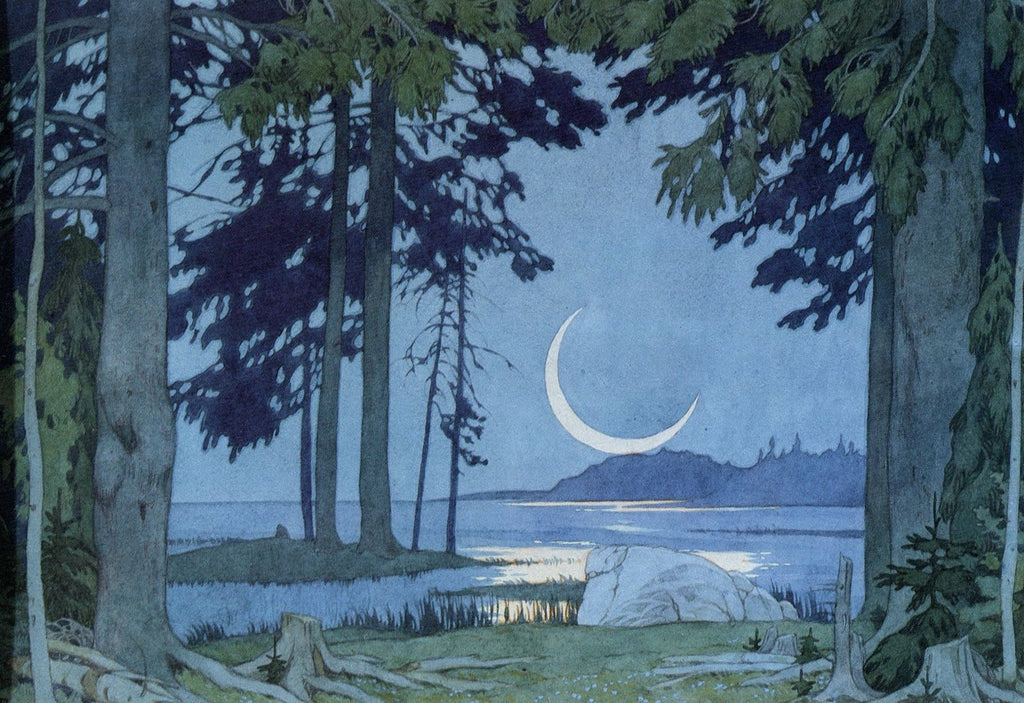 moonscape russian Ivan Bilibin Dark Forest Folklore