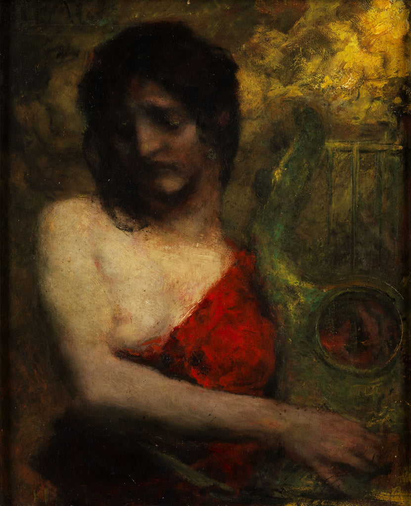 Semi-nude of a young woman in red dress with Lyra