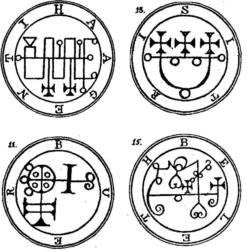 Four goetic seals from the Lesser Key of Solomon