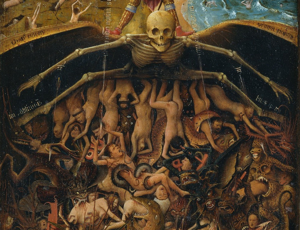 A personification of death spreads its skeletal wings over the fallen and damned