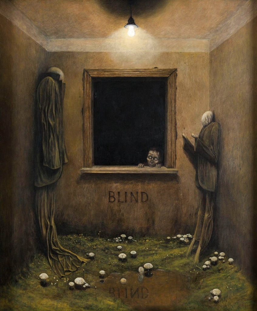 blind dark painting creepy art
