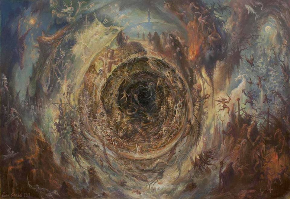 dark circle vortex painting by paolo girardi