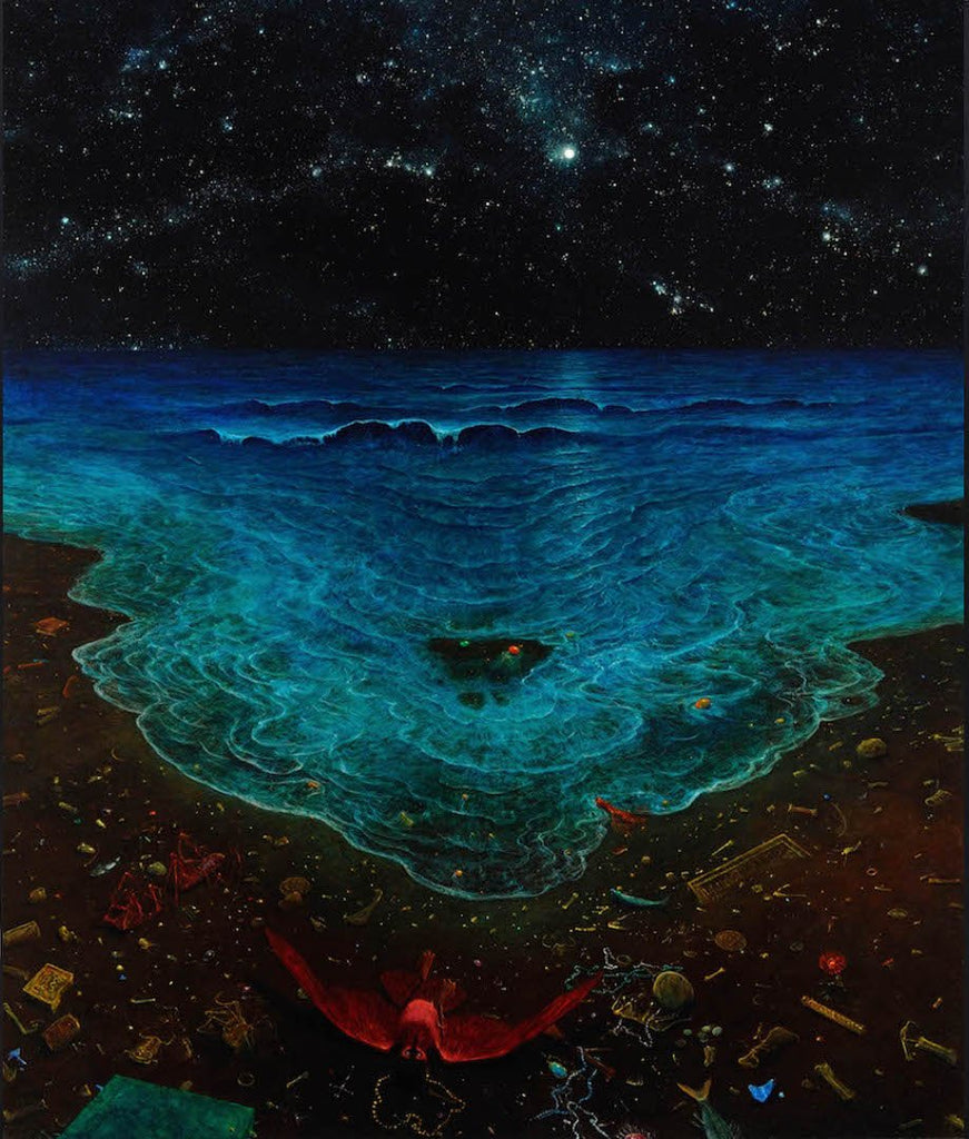 dark ocean surreal at night painting