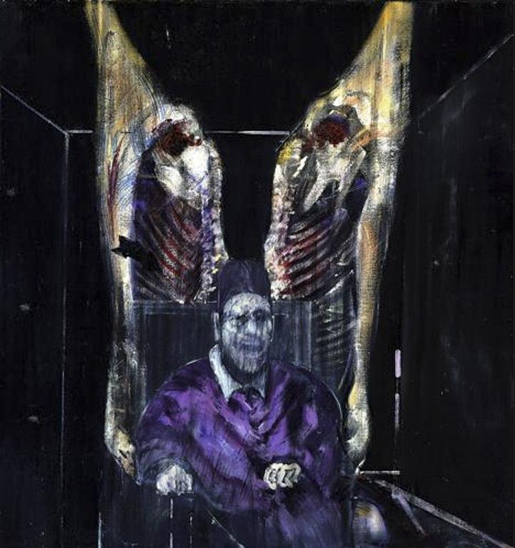 figure with meat dark painting by Francis bacon British artist