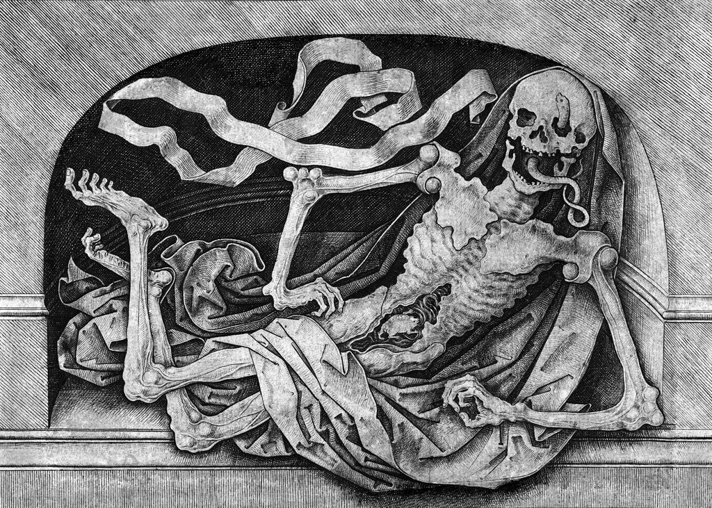 Memento Mori Death Framed poster based on a late 15th century engraving by Master IAM of Zwolle.